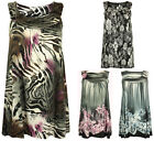 Womens Floral Print Ladies Sleeveless Long T-Shirt Stretch Vest Top Plus Size