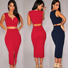 Sexy Women Plunge V Cropped Top Empire Bodycon Cocktail Club Mid Pencil Skirt C