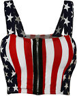 New Womens USA America Flag Print Zip Short Boobtube Bralet Ladies Crop Top 8-14