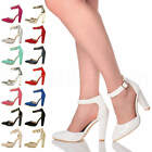 Womens ladies block high heel ankle strap smart pointed court shoes pumps size