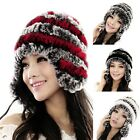 Rex Rabbit Fur Handmade Knit Hat Women's Winter Warm Hat Cap