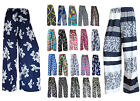 LADIES FLORAL PRINT PALAZZO TROUSERS WOMENS SUMMER WIDE LEG PANTS PLUS SIZES