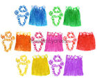 40CM HAWAIIAN HULA SKIRT AND 4 PC LEI SET LADIES SUMMER LUAU FANCY DRESS COSTUME