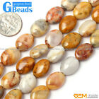 "Oval Gemstone Crzay Lace Agate Beads Jewelry Making Beads 15""Free Shipping"