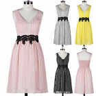 Chiffon Polka Dots Short Mini Evening Prom Dress Homecoming Cocktail Party Gowns