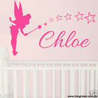 Personalised name & tinkerbell with stars Kids removable Wall Sticker Decal