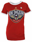 Adidas NBA Women's New Orleans Pelicans Short Sleeve Striped Raglan Tee, Red