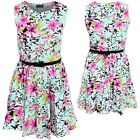 Childrens Sleeveless Flower Floral Print Belted Flare Skater Summer Party Dress