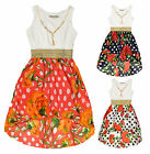 Girls Bright Polkadot Floral Print Summer Lace Top Kids Dress Age 4 - 14 Years