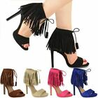 WOMENS LADIES HIGH HEEL TASSEL FRINGE SANDALS ANKLE CUFF BARELY THERE PARTY SIZE