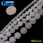 Round White Frost Gemstone Spacer Agate Stone Beads Jewelry Making Strand 15""