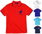Boys Embroidered Polo Shirt Short Sleeved Button Up Kids Top New Ages 7-13 Years
