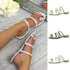 WOMENS LADIES LOW HEEL FLAT DIAMANTE GEM SUMMER PROM FLIP FLOP SANDALS SHOE SIZE