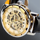 Mens Transparent Skeleton Mechanical Stainless Steel Leather Sport Wrist Watch