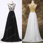 Black White Long Chiffon Lace Formal Evening Party Bridesmaid Prom Wedding Dress