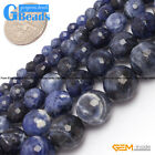 "Round Faceted Gemstone Sodalite Jewelry Making Loose Beads Strand 15"" 4-12mm"