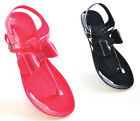 NEW LADIES WOMENS FLIP FLOPS JELLY BOW TOE POST SANDALS BEACH SHOES SIZE UK 4-8