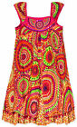 Girls Sleeveless Vibrant Print Summer Cotton Kids Beach Dress Ages 3-10 Years