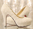 new women round toe sandals high heel lace zbead wedding shoes