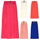 Girls Pleated Chiffon Elasticated Waist Long Maxi Skirt New Kids Ages 4-14 Years