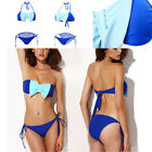 Sexy Women Bikini Halter Bandage Push-Up Bowknot Bra Triangle Swimwear Swimsuit