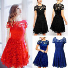New Ladies Vintage Lace Short Sleeve Evening Formal Cocktail Mini Party Dress OL