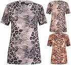 Womens Plus Size Animal Leopard Print Ladies Short Sleeve Tunic Long T-Shirt Top