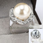 A1-R042 Fashion Rhinestone Pearl Ring 18KGP use Swarovski Crystal Size 5.5-10