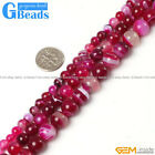 Round Gemstone Magenta Stripe Agate Beads For Jewelry Making Free Shipping 15""