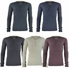 MENS RIBBED V-NECK TOP LONG SLEEVE SWEATSHIRT JERSEY BUTTON T-SHIRT SIZES S-2XL