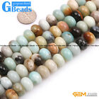 Rondelle Smooth Faceted Frost Mixed Amazonite Jewelry Making Gemstone Beads 15""
