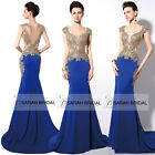 STOCK Gold Rhinestone Sheer Top Sheath Pageant Gown Plus size Prom Evening Dress