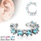 CUTE 3 COLOR LOT OF RHODIUM PLATED BRASS CARTILAGE CLIP EAR CUFF RINGS WITH CZ'S