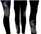 PLUS SIZE FULL-LENGTH LEGGINGS EMBELLISHED RHINESTONE PEACOCKS