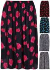 Womens New Plus Size Floral Print Ladies Stretch Pleated Skater Long Midi Skirt