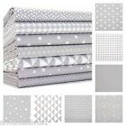 MONO GEOMETRICS - GREY - 160cm WIDE 100% COTTON FABRIC CRAFTS  PATCHWORK FASHION