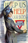 YMCA Help US Help Our Boys American USA US War Vintage Poster Repro FREE S/H