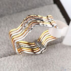 A1-R303 Fashion No Stone Multi-Tone Band 6mm Linked Ring Set 18KGP Size 5.5-9