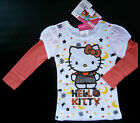 NWT: New Hello Kitty White Orange Sparkle Layered Shirt, 2T, 3T, or 4T, Rtls $18