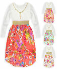 Girls Bright Long Sleeved Floral Print Summer Lace Top Kids Dress Age 5-12 Years