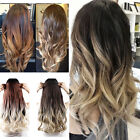 Dip Dye Clip in Ombre Hair Extensions Synthetic Long Straight Curly Wavy MUJ1