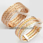 Fashion Band Ring Linked 7-Bands Multi-Colored 18KGP Size 5.5-8