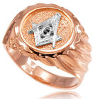 10k Solid Rose Gold Masonic Men's Ring