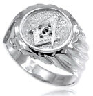Solid Sterling Silver Masonic Men's Ring