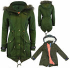 NEW LADIES HOODED FISHTAIL LADIES PARKA JACKET WOMENS MILITARY COAT 8-24