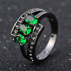 Size 7,8,9 Woman's Fashion Bridal AAA Emerald Black 18K Gold Filled Rings Gift