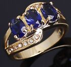 Amazing Fashion Size 6,7,8,9 Blue Sapphire 18K Gold Filled  Woman's Ring Halo
