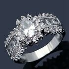 Size 8,9,10,11 White Sapphire 18K Gold Filled Woman's Wedding Bridal Ring Gift