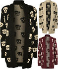 New Womens Knitted Skull Pattern Print Long Sleeve Top Ladies Open Cardigan 8-14