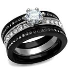 His Hers Black Stainless Steel Round cz Wedding Engagement 4 pc cz Ring Band Set